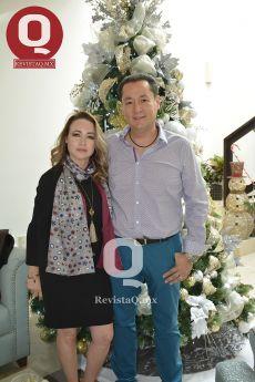 Cecilia Treviño y Mario Morales, el cumpleañero